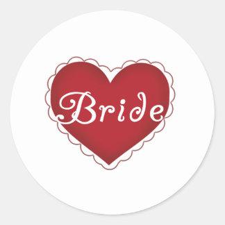 Red Heart Bride Round Sticker