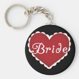 Red Heart Bride T-shirts and Gifts Key Chain