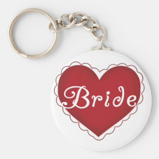 Red Heart Bride T-shirts and Gifts Keychain