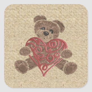 Red heart burlap teddy bear stickers
