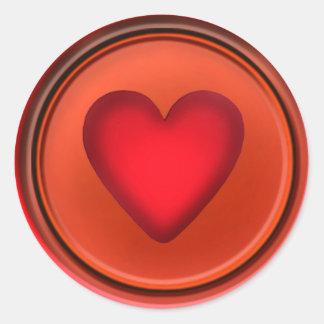 RED HEART BUTTON by SHARON SHARPE Classic Round Sticker
