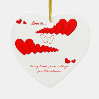 Red Heart Chain LOVE IS... Custom Ceramic Heart Decoration