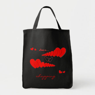 Red Heart Chain LOVE IS... Custom Grocery Tote Bag