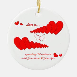 Red Heart Chain LOVE IS... Custom Round Ceramic Decoration