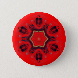Red Heart Chakra Mandala Art Mediation Spiritual 6 Cm Round Badge