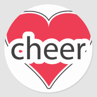 Red Heart Cheer Round Sticker