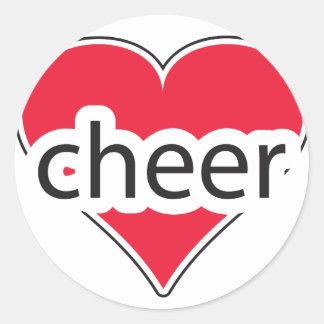 Red Heart Cheer Round Sticker