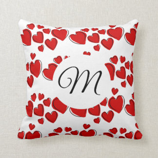 Red Heart Clusters With Monogram Cushion
