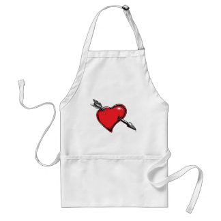 Red Heart Cupid's Arrow Love Hearts Adult Apron