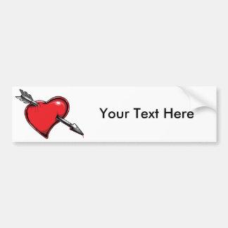 Red Heart Cupid's Arrow Love Hearts Car Bumper Sticker