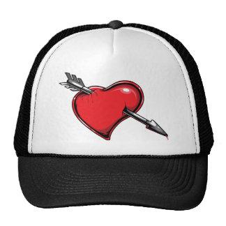 Red Heart Cupid's Arrow Love Hearts Mesh Hats