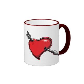 Red Heart Cupid's Arrow Love Hearts Mugs