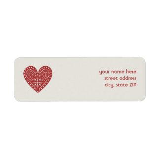 Red Heart Cutout Valentine's Address Label