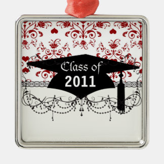 red heart damask on white  graduation Silver-Colored square decoration