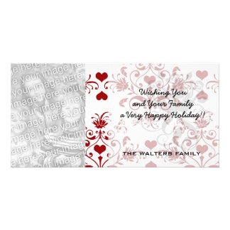 red heart damask on white valentine love customized photo card