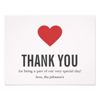 Red Heart Design Wedding Thank You Cards Announcements