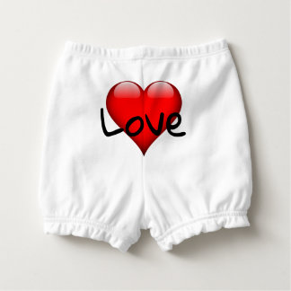 Red heart diaper bloomers nappy cover