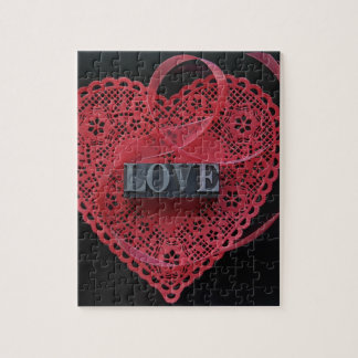 Red heart doily with love word jigsaw puzzle