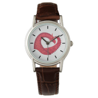 Red heart dragon on white watch