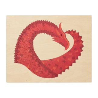 Red heart dragon wood wall art