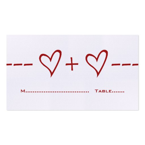 Red Heart Equation Place Card Business Card Templates