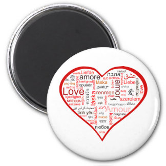 Red Heart full of Love in many languages 6 Cm Round Magnet