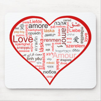 Red Heart full of Love in many languages Mouse Mat