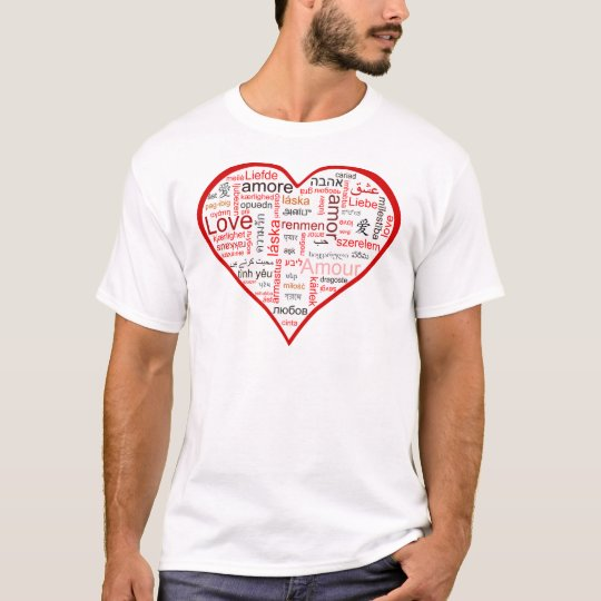 Red Heart full of Love in many languages T-Shirt