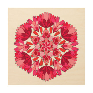 Red Heart Geometric Wall Art Wood Canvases
