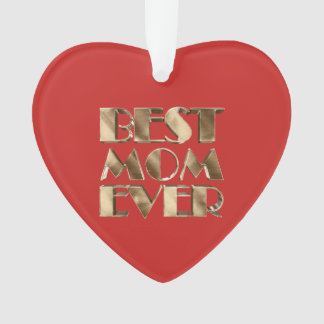 Red Heart Gold Typography Best Mom Ever