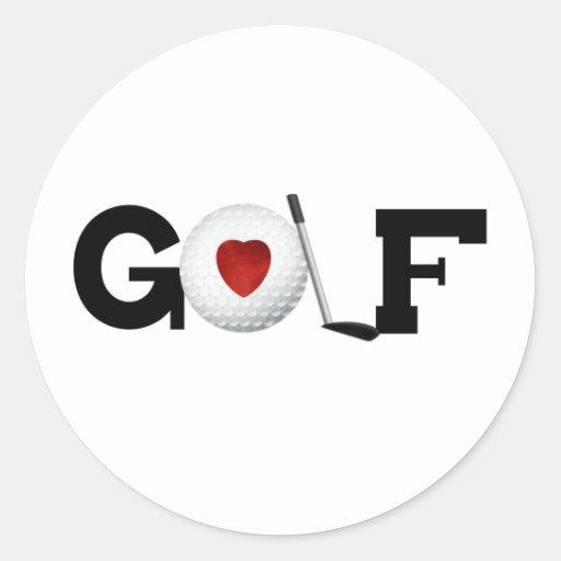 Red Heart Golf Round Sticker