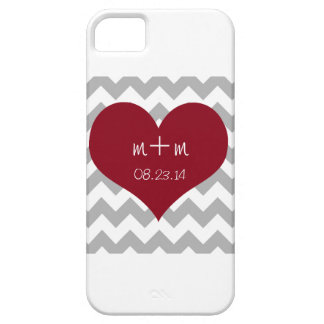 Red Heart Gray Chevron Phone Case Save the Date