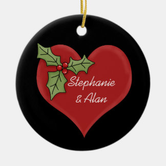 Red Heart & Green Holly Christmas Ornament