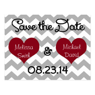 Red Heart Grey Chevron Save the Date Postcard
