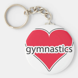 Red Heart Gymnastics Basic Round Button Key Ring