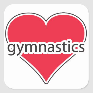 Red Heart Gymnastics Square Sticker