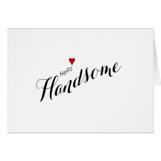 Red Heart Hello Handsome Wedding Note Card