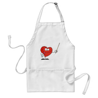 Red Heart Holding A Pointer Standard Apron