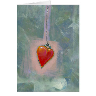 Red heart human condition expressive modern art greeting card