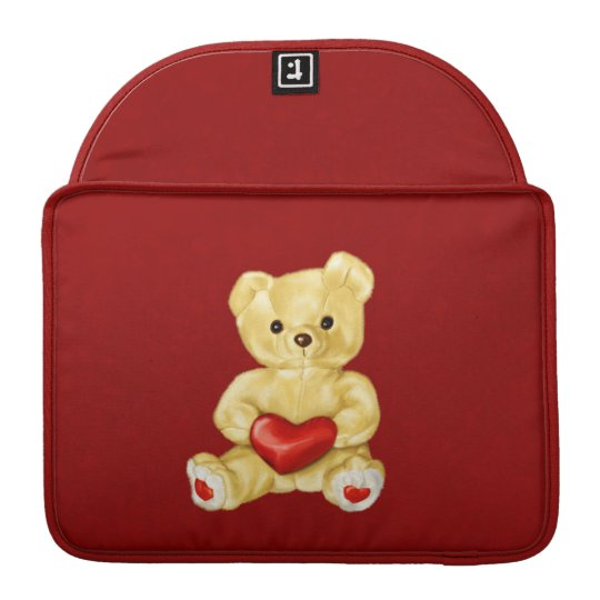 Red Heart Hypnotising Cute Teddy Bear Sleeve For MacBook Pro