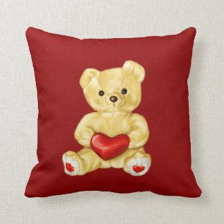 Red Heart Hypnotizing Cute Teddy Bear Cushion