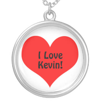 Red Heart, I Love, Custom Color and Name Round Pendant Necklace