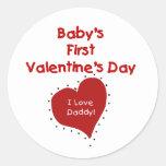 Red Heart I Love Daddy First Valentines Day Round Sticker