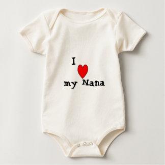 Red heart, I, my Nana Baby Bodysuit