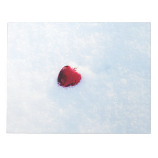 Red Heart in Snow Notepad