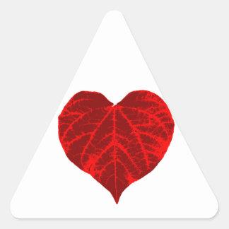 Red Heart Leaf Triangle Sticker