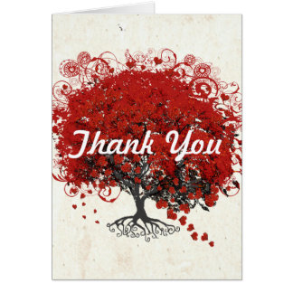 Red Heart Leaf Tree Greeting Cards