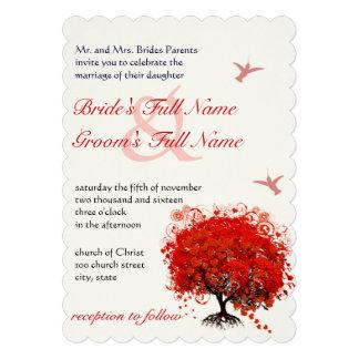 Red Heart Leaf Tree Hummingbird Custom Invitation