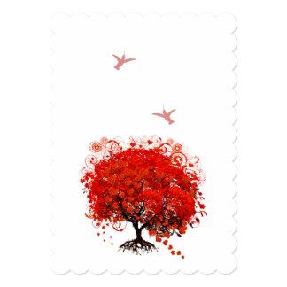 Red Heart Leaf Tree Hummingbird 5x7 Paper Invitation Card