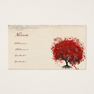 Red Heart Leaf Tree Roots Swirls Hearts Business Card